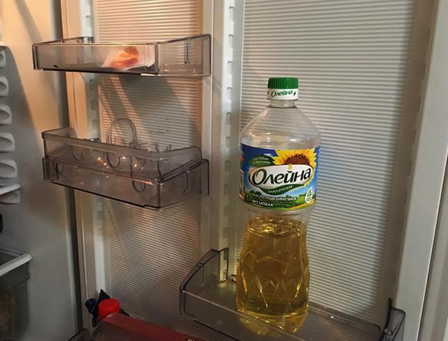 Подсолнечное масло в холодильнике