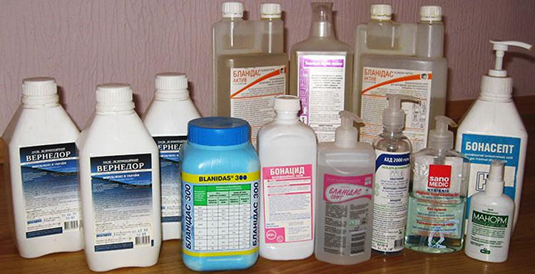 Разные дезинфицирующие средства