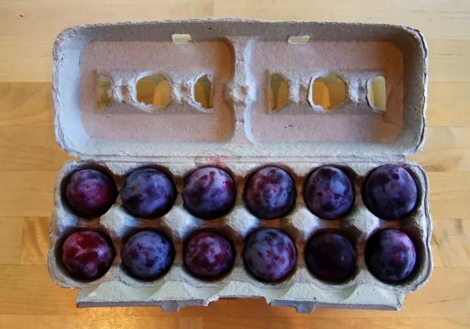 Сливы в коробке из под яиц