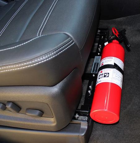 Хранение огнетушителя под сидением